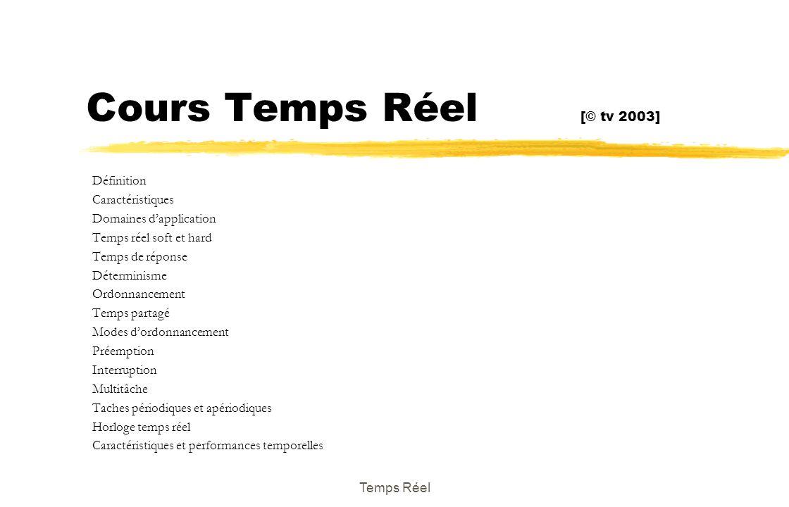 Cours Temps Réel [© tv 2003] Définition Caractéristiques